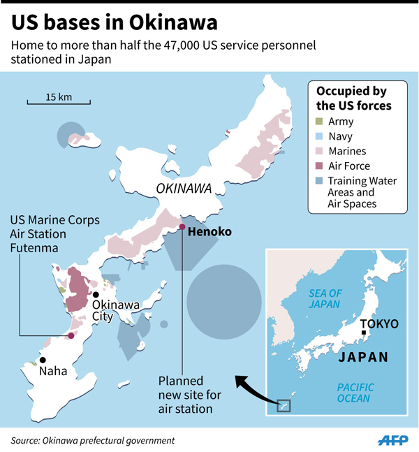 Japan Suspends Work On US Base On Okinawa 丨 Asia China Daily Asia - Us bases in japan map